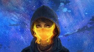 Women Mask Hoods Glowing Stars Sky Curly Hair Night 2560x1440 Wallpaper
