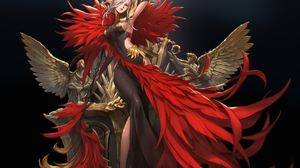 Bluezima Drawing Women Elves Blonde Long Hair Feathers Red Clothing Wings Dress Pointy Ears Weapon S 1920x1573 Wallpaper