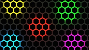 Artistic Blue Digital Art Green Hexagon Pattern Purple Red Yellow 3840x2160 wallpaper