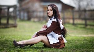 Irina Sirina Women Model Brunette Long Hair Looking Away Dress Apron Sitting High Heels Grass Outdoo 2560x1628 Wallpaper