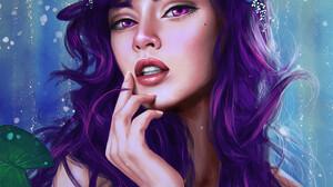 Paulina Bochniak Face Digital Art Women Open Mouth Looking At Viewer Artwork Pink Eyes Portrait Disp 1052x1292 Wallpaper