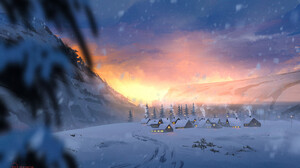 Artwork Snow Winter Village 1920x1280 Wallpaper