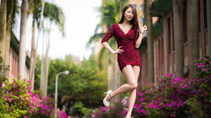 Asian Model Women Long Hair Brunette White Heels Flowers Depth Of Field Trees Street Light Bushes Wo 2281x1521 Wallpaper