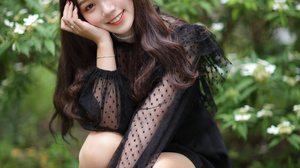 Asian Model Women Long Hair Dark Hair Depth Of Field Women Outdoors Bushes Black Dress Hair Pins Nyl 2560x3840 Wallpaper