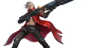 Yoon Lee Drawing Men Warrior Silver Hair Wind Cigarettes Smoking Mantle Pants Science Fiction Weapon 1920x1908 Wallpaper