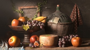 Apple Banana Cheese Fig Fruit Grapes Pitcher 1920x1080 Wallpaper