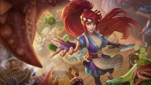 Akali League Of Legends League Of Legends Long Hair Ponyta Pokemon Red Eyes Red Hair Smile 1920x1133 Wallpaper