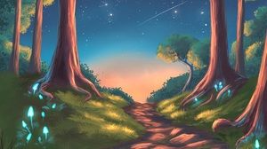 Digital Art Artwork Night Forest Stars Sky Path Nature Landscape Sunset Galaxy Trees Space Lights 4500x3200 Wallpaper