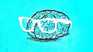 Glasses Brain Digital Art Cyan Cyan Background Drawing Bright 2560x1440 Wallpaper
