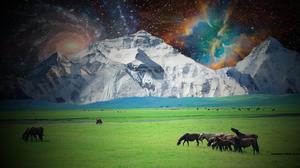 Galaxy Himalayas Landscape Mount Everest Nebula Shooting Star Space 1600x900 wallpaper
