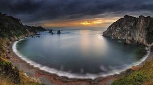 Bay Beach Cliff Horizon Nature Ocean Sunset 2048x1092 Wallpaper
