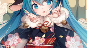Anime Anime Girls Vocaloid Hatsune Miku Horns Cow Girl Bison Cangshu Kimono Vertical Animal Ears Twi 1000x1414 Wallpaper