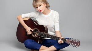 Blonde Blue Eyes Guitar Lipstick Singer Smile Taylor Swift Woman 1920x1280 wallpaper