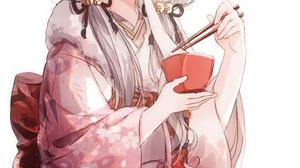 Anime Girls Artwork Gocoli THE IDOLM STER Hisakawa Nagi Grey Hair Dark Eyes Food Japanese Clothes 850x1340 Wallpaper