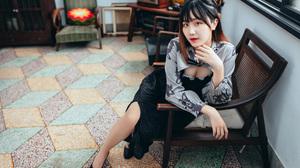Asian Model Women Long Hair Dark Hair Sitting Chair Window Depth Of Field Tiled Floor Black Dress Bl 2560x1706 Wallpaper