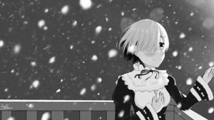 Black Amp White Rem Re Zero Snowfall 6576x5693 Wallpaper