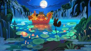Night Water Lily 2000x1080 Wallpaper