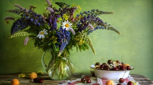 Apricot Bouquet Cherry Flower Fruit Lupine Still Life 1920x1280 Wallpaper