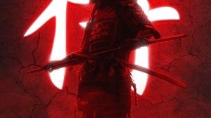 Portrait Display Vertical Artwork Digital Art Warrior Red Background Samurai Armor Katana Sword 3260x5796 Wallpaper