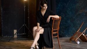 Black Dress Black Hair Girl High Heels Model Mood Short Hair Woman 2048x1365 Wallpaper