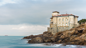 Castle Coast Horizon Italy Ocean Rock Sea 5250x3505 Wallpaper