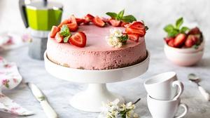 Berry Cake Cheesecake Dessert Fruit Still Life Strawberry 6385x4257 Wallpaper