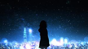 Anime Anime Girls Stars City Lights Sky Silhouette 4096x2061 Wallpaper