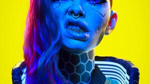 J Hill Artist Cyberpunk Yellow Background Face Undercut Hairstyle Hair Looking At Viewer Women CGi 3 2048x2700 Wallpaper