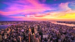 Aerial City Cityscape Horizon Manhattan New York Panorama Sky Sunset 1920x1200 Wallpaper