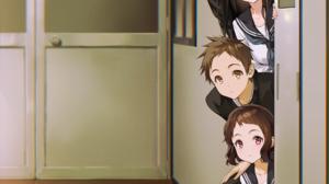 Hyouka JK School Uniform Classroom Anime Girls Anime Boys Long Hair Short Hair Black Hair Brunette 2 1500x2169 Wallpaper