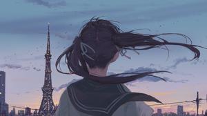 Anime Girls Schoolgirl Sky Cityscape Arttssam 1920x1080 wallpaper