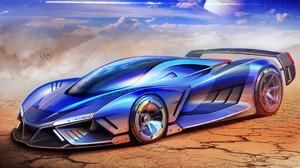 Aleksandr Sidelnikov Drawing Car Planet Rings Cracked Blue Shiny Dust Sky Race Cars 1920x1357 Wallpaper
