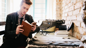 Model Man Book Typewriter Glasses Brick 2048x1365 Wallpaper