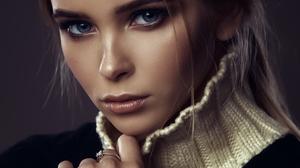 Ilya Varivchenko Women Brunette Blue Eyes Looking At Viewer Makeup Eyeshadow Blush Lipstick Turtlene 1500x2000 Wallpaper