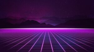 Grid Mountain Purple Retro Wave Synthwave 3200x2560 wallpaper