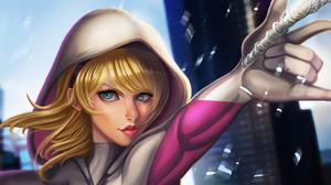 Aqua Eyes Blonde Gwen Stacy Hood Marvel Comics Spider Gwen 3840x2160 Wallpaper