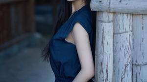 Asian Dress Outdoors Long Hair Black Hair Blue Dress Women Shika XiaoLu 3024x4032 wallpaper