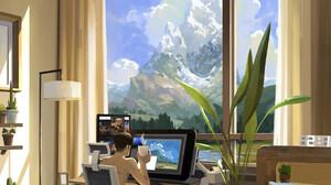 Sin Jon Hun Window Interior Digital Art Landscape 3000x3500 Wallpaper