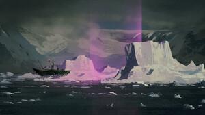 Artwork Digital Art Boat Mountains 1500x953 Wallpaper