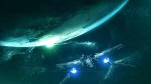 Digital Art Space Spaceship Science Fiction Pilote Planet Space Art Cyan Turquoise 1920x1080 Wallpaper