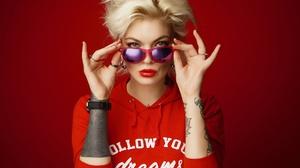 Woman Girl Blonde Short Hair Sunglasses Lipstick Blue Eyes Tattoo 2500x1667 Wallpaper