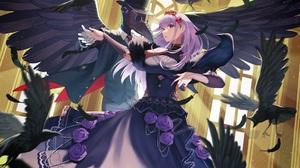Anime Anime Girls KannSaba Artwork Purple Hair Red Eyes Dress Crow 3500x2471 Wallpaper