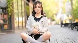 Asian Model Women Long Hair Dark Hair Sitting Legs Crossed Sneakers Depth Of Field Street Ponytail H 5120x3415 Wallpaper