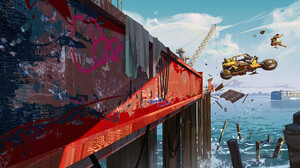Ed Laag Digital Art Artwork ArtStation Dock Motorcycle Cranes Machine Concept Art 4K 3800x1979 Wallpaper