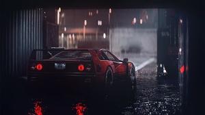 Ferrari Ferrari F40 Red Cars Dark Vehicle Car 1920x1080 Wallpaper