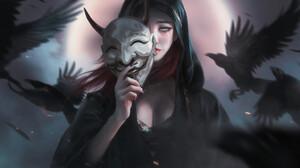 Artwork Fantasy Art Women Mask Crow 1920x861 Wallpaper