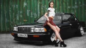 Evgeniy Savin Model Women Brunette Closed Eyes T Shirt White T Shirt Skirt Legs High Heels Tattoo Ca 6425x3614 Wallpaper