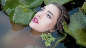 Women In Water Outdoors Model Makeup Plants Leaves Purple Lipstick Women Outdoors Looking Up Brunett 2048x1365 wallpaper