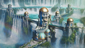 Waterfall Top View Digital Art Digital Painting Fan Art Artwork 3840x2160 Wallpaper
