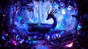 Digital Art Colorful Artwork Lights Dragon Forest Night Magic Trees Horns Pink Blue Evening Creature 8000x4500 Wallpaper